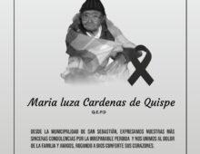 Q. E. P. D. fue MARIA LUZA CARDENÁS DE QUISPE