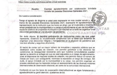 ONPE AGRADECE A LA MUNICIPALIDAD DISTRITAL DE SAN SEBASTIÁN