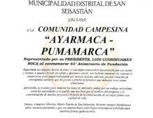 FELIZ ANIVERSARIO COMUNIDAD AYARMACA PUMAMARCA