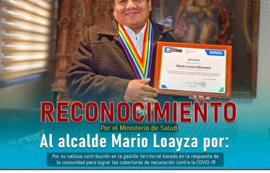 MINISTERIO DE SALUD RECONOCIÓ AL ALCALDE SEBASTIANO MARIO LOAYZA